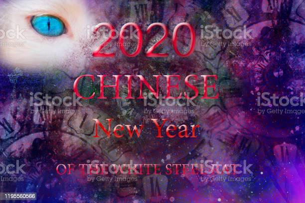Chinese New Year lettering white steel rat on a purple background