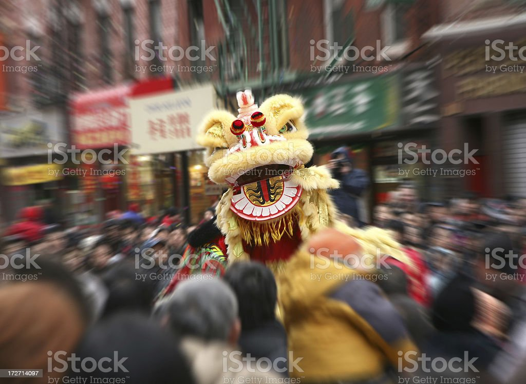 Chinese New Year Lion Dancing, Blurred Motion stock photo