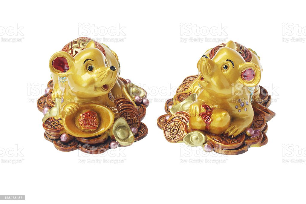 Chinese New Year Ornaments Golden Rats stock photo
