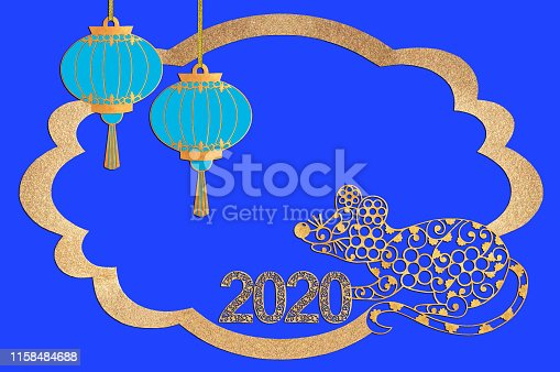 1176499937 istock photo Chinese New Year. Paper frame with rat, lanterns and numbers 2020 1158484688