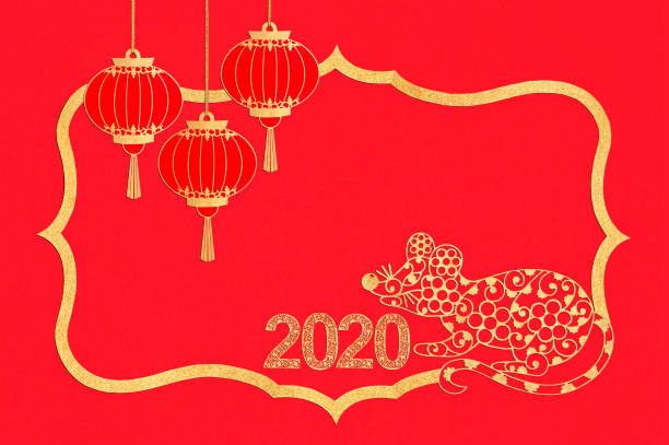 chinese new year. paper frame with rat, lanterns and numbers 2020 - chinese new year stock pictures, royalty-free photos & images