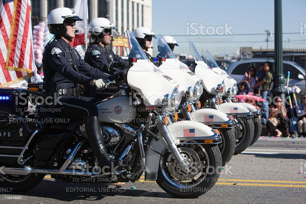 Chinese New Year Parade Cop Formation stock photo
