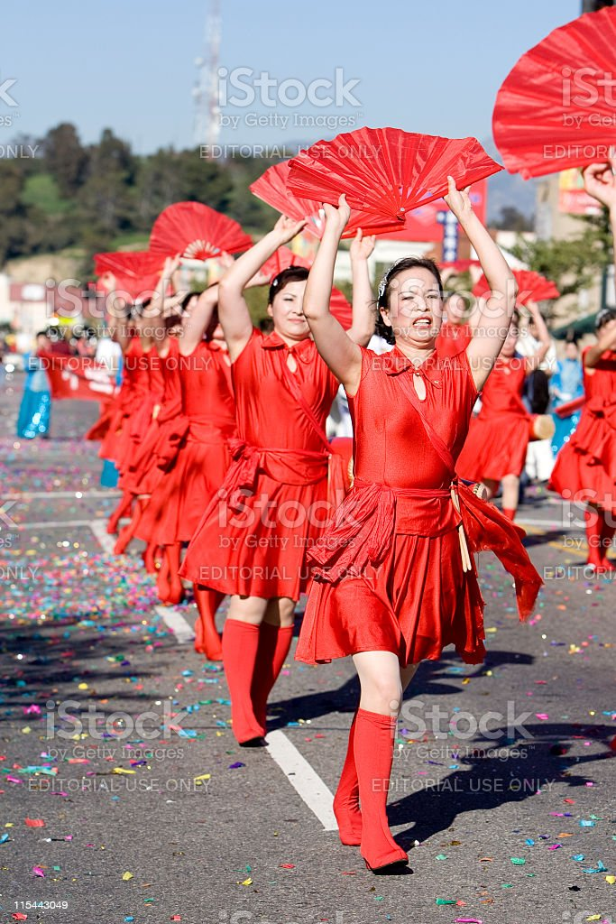 Chinese New Year Parade Fan Ladies stock photo
