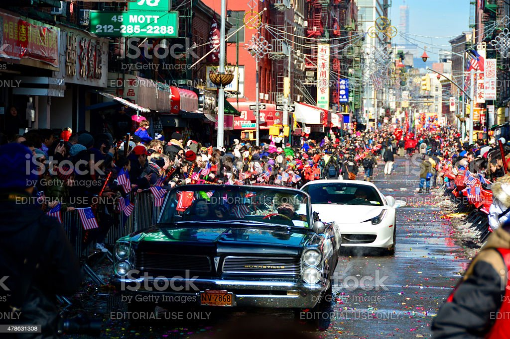 NYC Chinese New Year Parade in chinatown stock photo