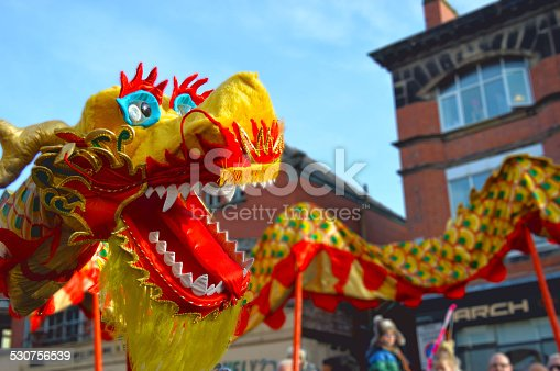 Chinese dragon parade during a street celebration.