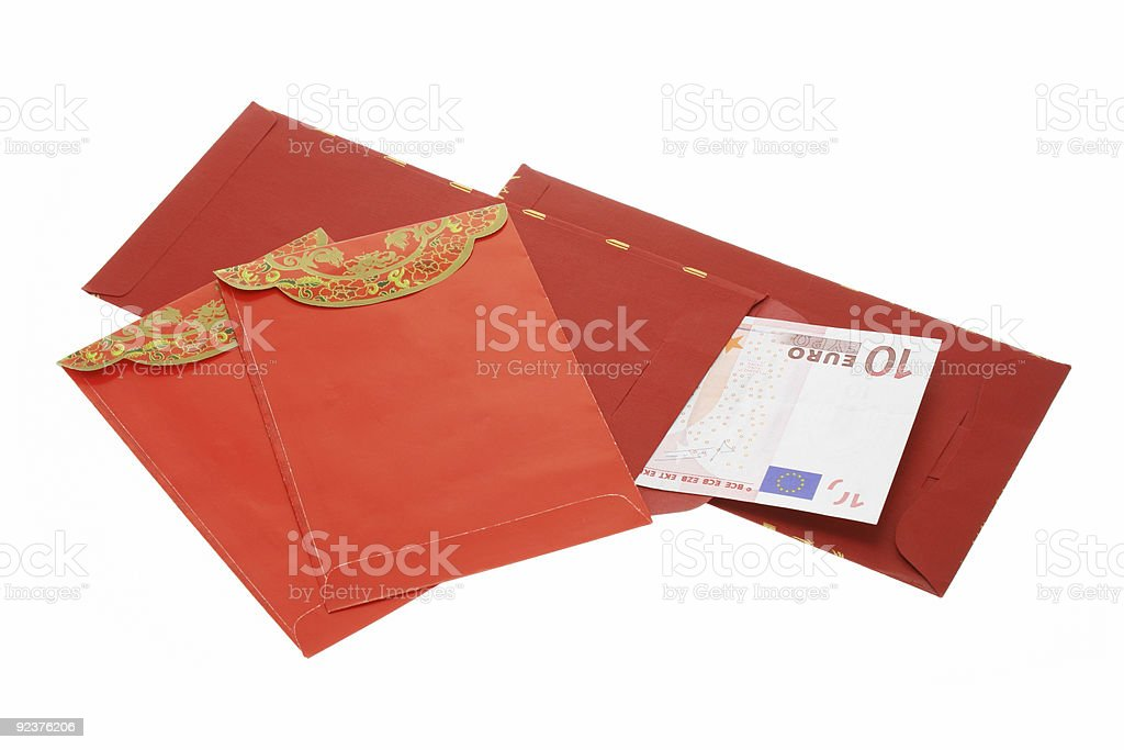 Chinese New Year red packets and Euro notes royalty-free stock photo