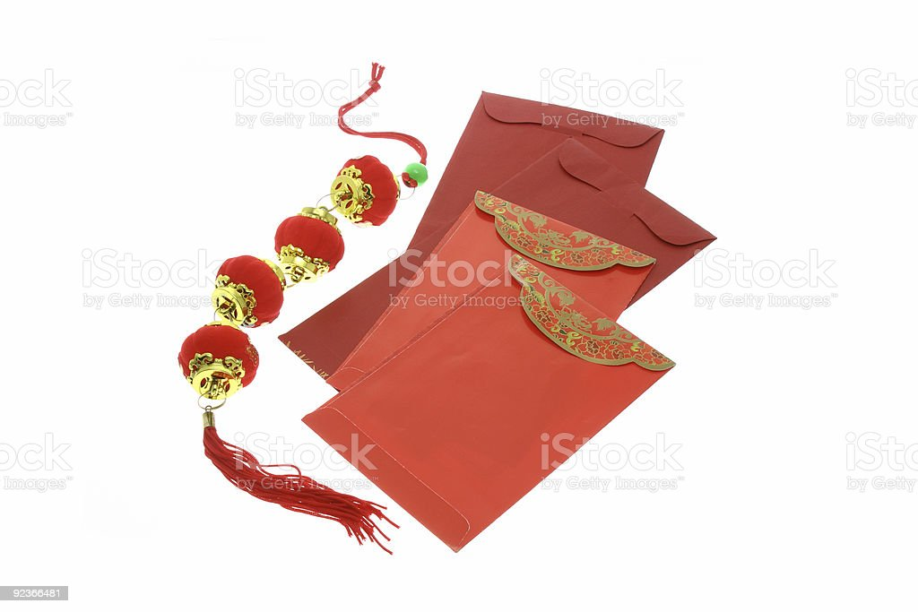Chinese New Year red packets and lanterns royalty-free stock photo