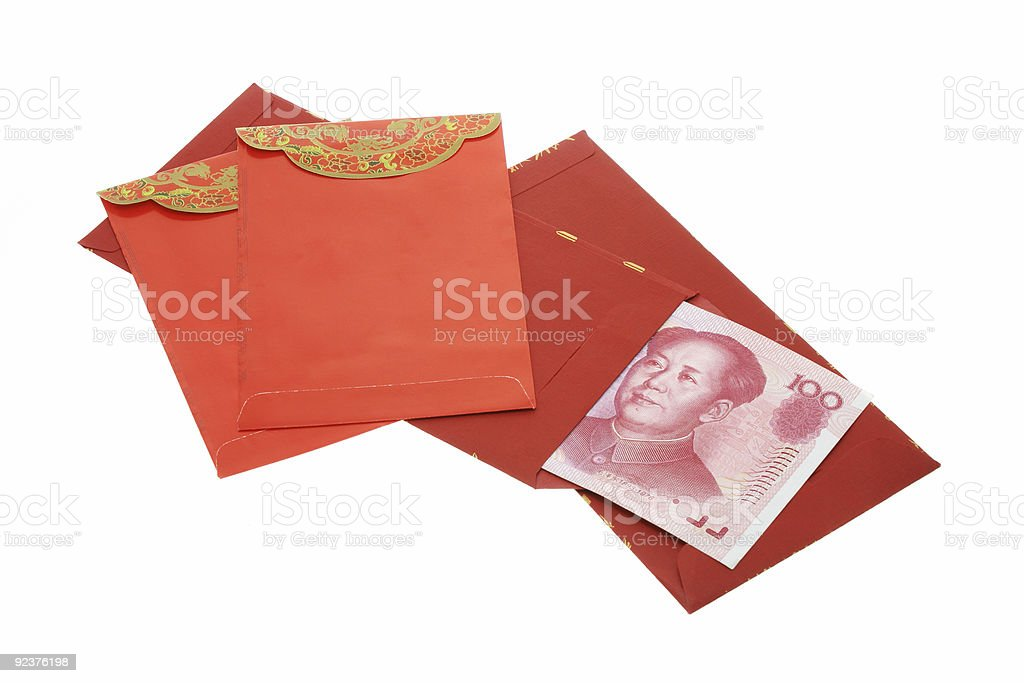 Chinese New Year red packets and renminbi notes royalty-free stock photo