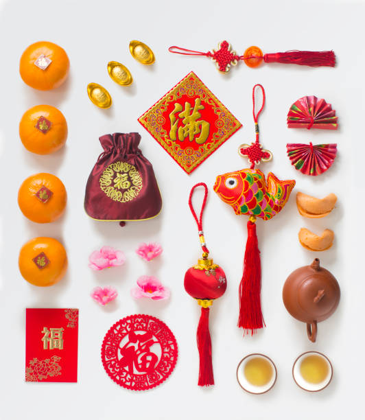 Chinese new year related objects, food and drink still life. stock photo