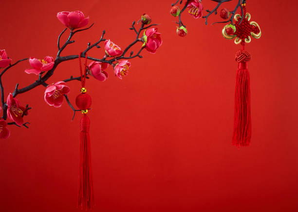 Cтоковое фото Chinese new year's decoration for Spring festival on red background