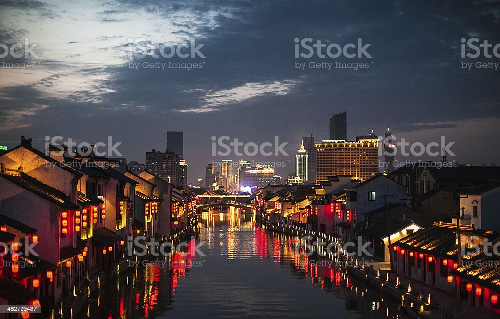 Chinese nightscape stock photo