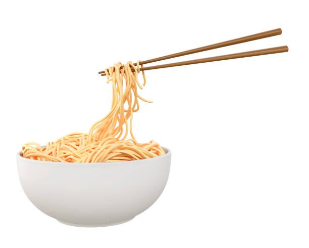 中華麺や日本インスタント麺みじん切り箸フォーム ホワイト ボウル。 - ラーメン ストックフォトと画像