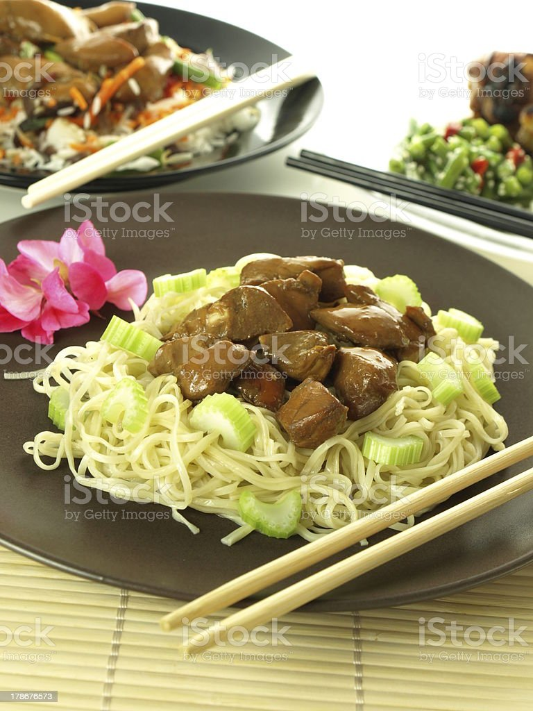Chinese noodles with chicken royalty-free stock photo