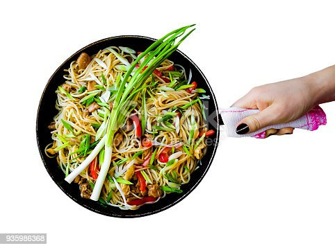istock Chinese noodles wok isolated in white background 935986368