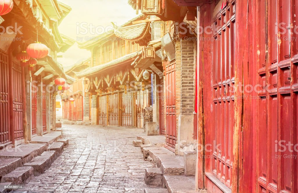 Chinese old town in the morning , Lijiang Yunnan ,China stock photo