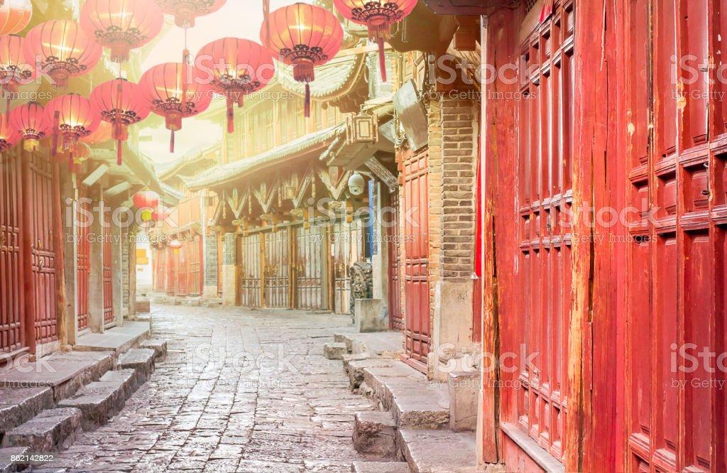 Chinesische Altstadt am Morgen, Lijiang Yunnan, China – Foto
