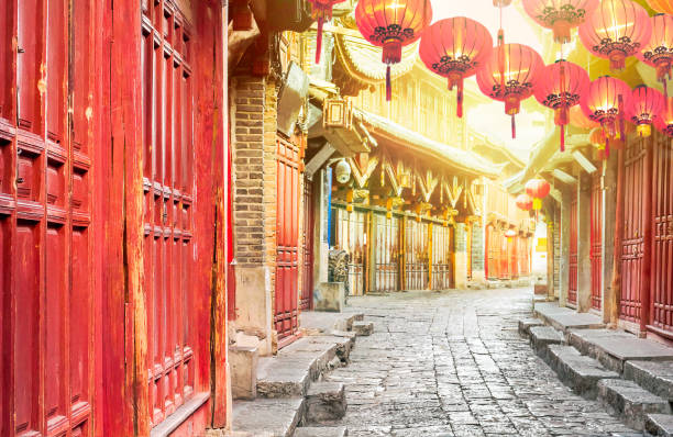 chinese old town in the morning , lijiang yunnan ,china - chinese new year stock pictures, royalty-free photos & images
