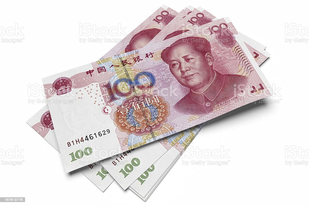 Chinese one hundred Yuan notes stock photo