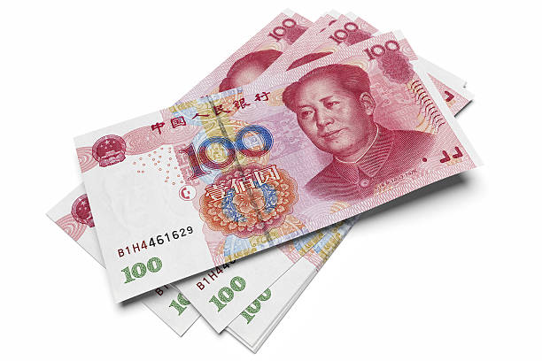 Chinese one hundred Yuan notes 3D render of  one hundred Yuan banknotes, all in sharp focus. chinese currency stock pictures, royalty-free photos & images