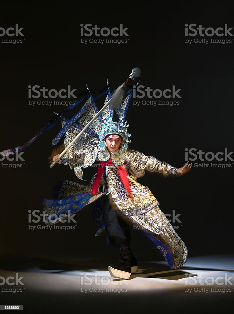 Chinese opera action (Zhao Yun) royalty-free stock photo