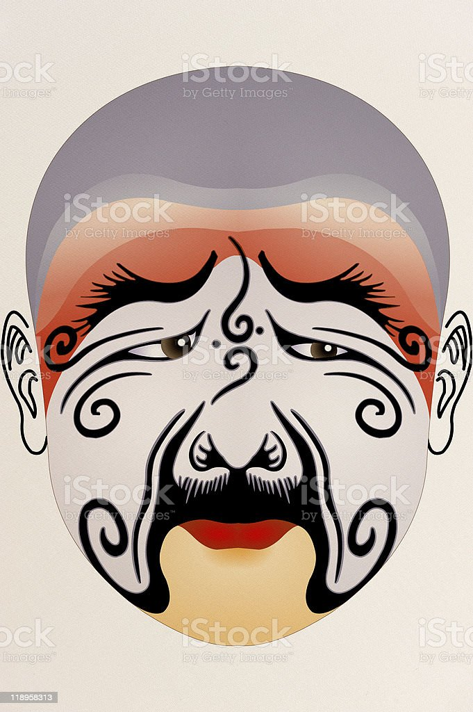 chinese opera face on Fabric with floral pattern royalty-free stock photo