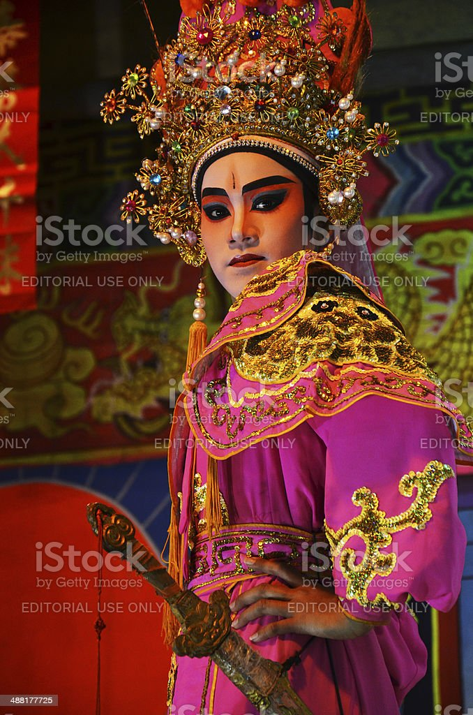 Chinese Opera team acting at The Chinesse Temple stock photo