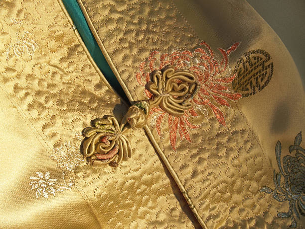 Chinese or Mandarin Gold Silk Jacket Detail with Frog Closure stock photo