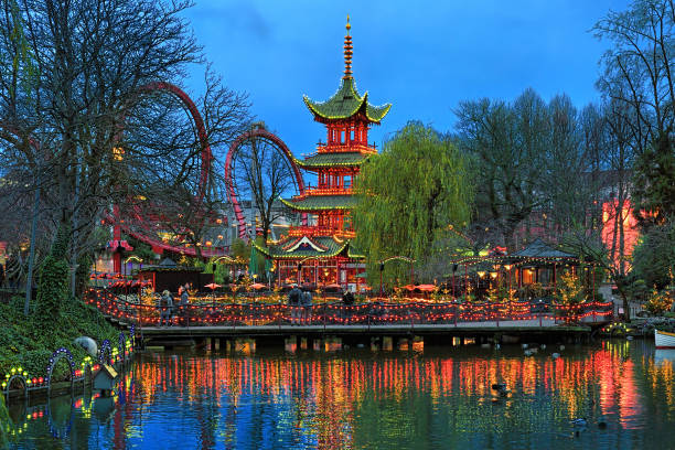 Chinese pagoda in Tivoli Gardens in Copenhagen, Denmark stock photo