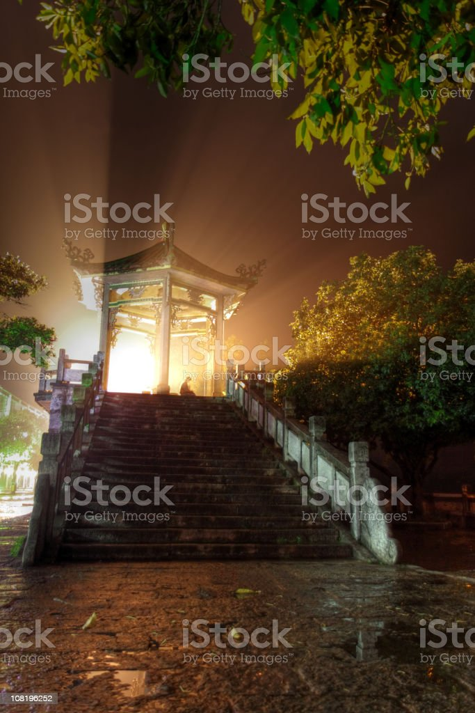 Chinese Pagoda Pavilion at Night with Bright Lights royalty-free stock photo