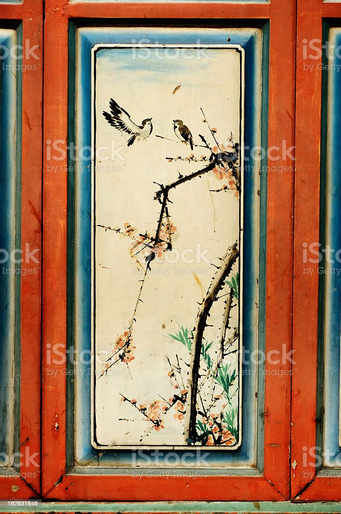Chinese painting on temple door stock photo