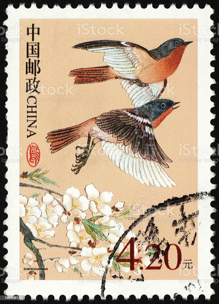 Chinese Painting postage stamp stock photo