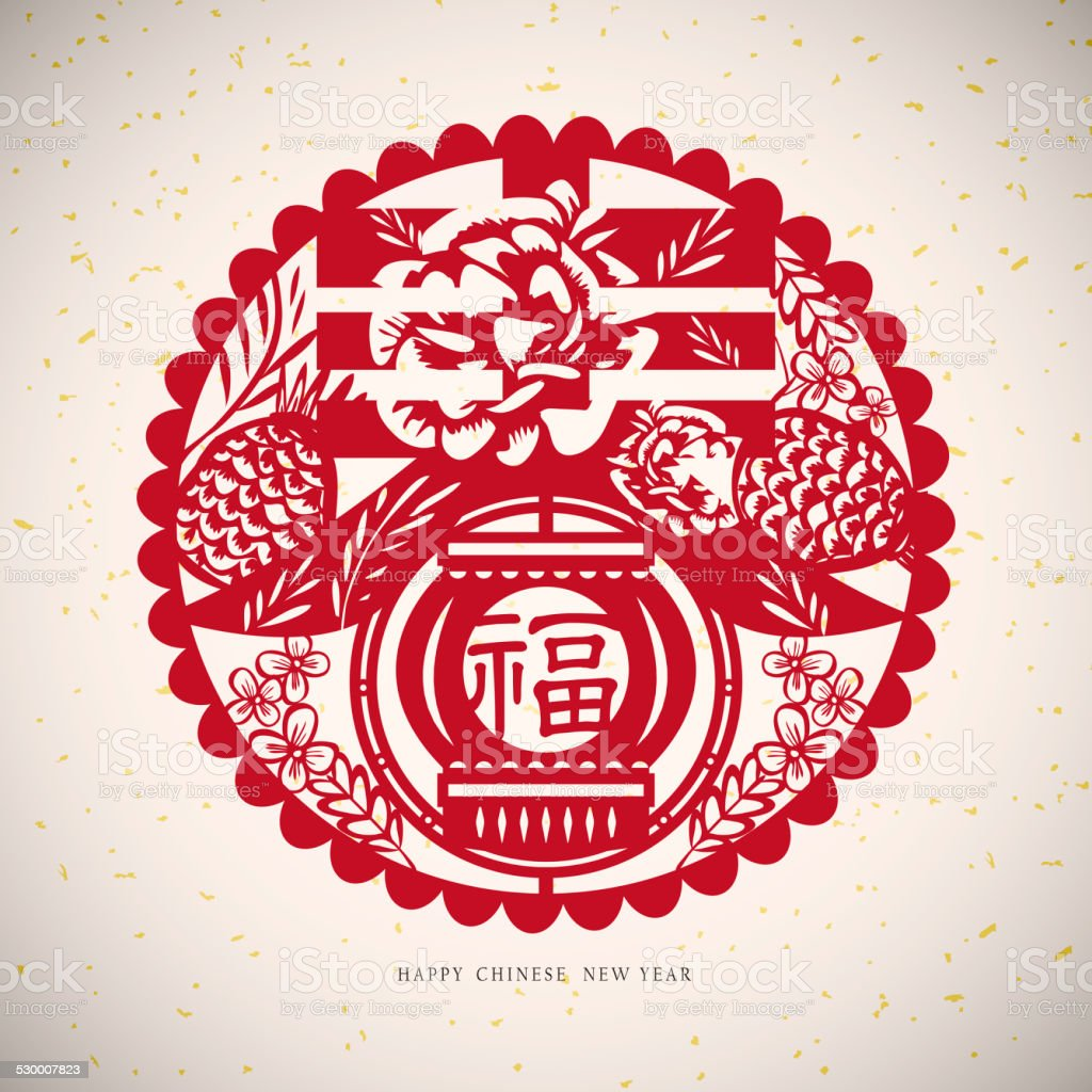 Chinese paper cut arts stock photo