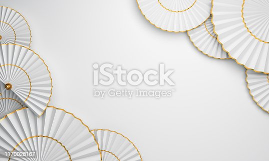istock Chinese paper fan umbrella on white background. Design creative concept of chinese festival celebration gong xi fa cai. 1170028167