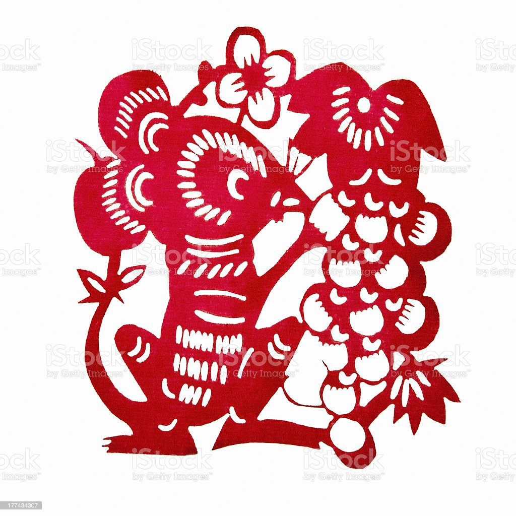 Chinese Paper-cutting (Rat) stock photo