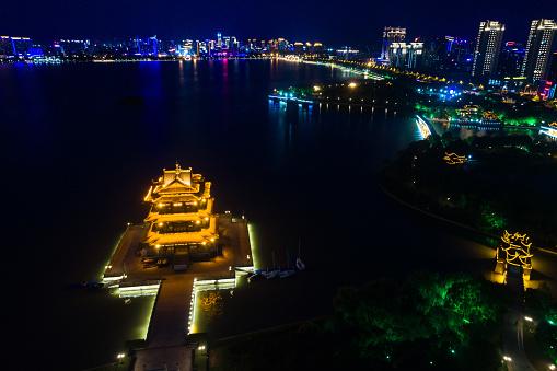 Lijiang river wharf at night