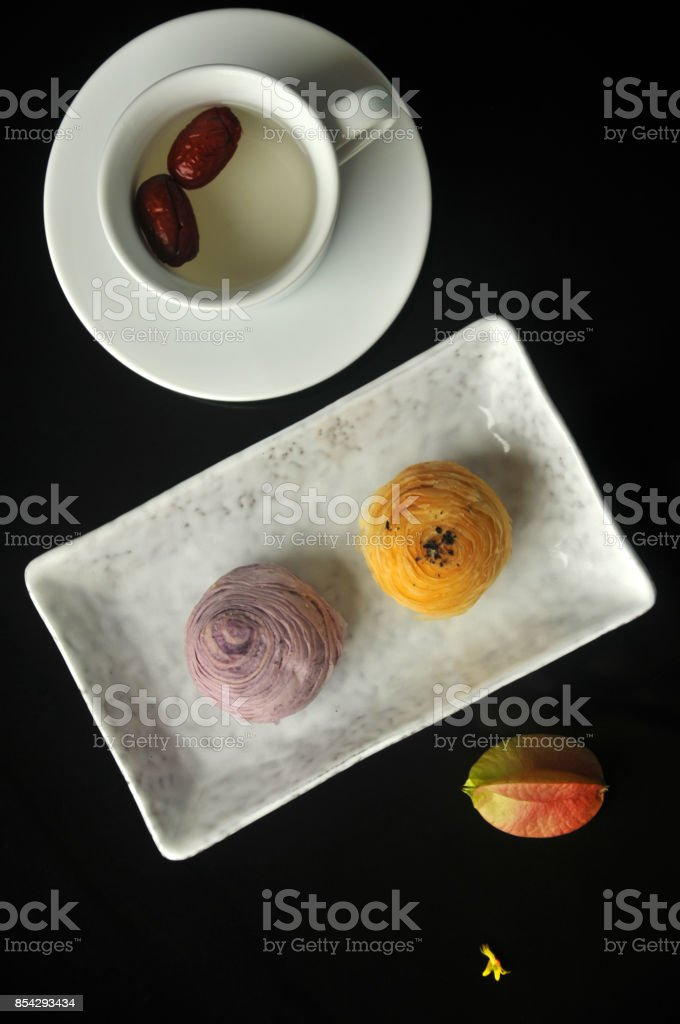 Chinese pastry or moon cake stock photo