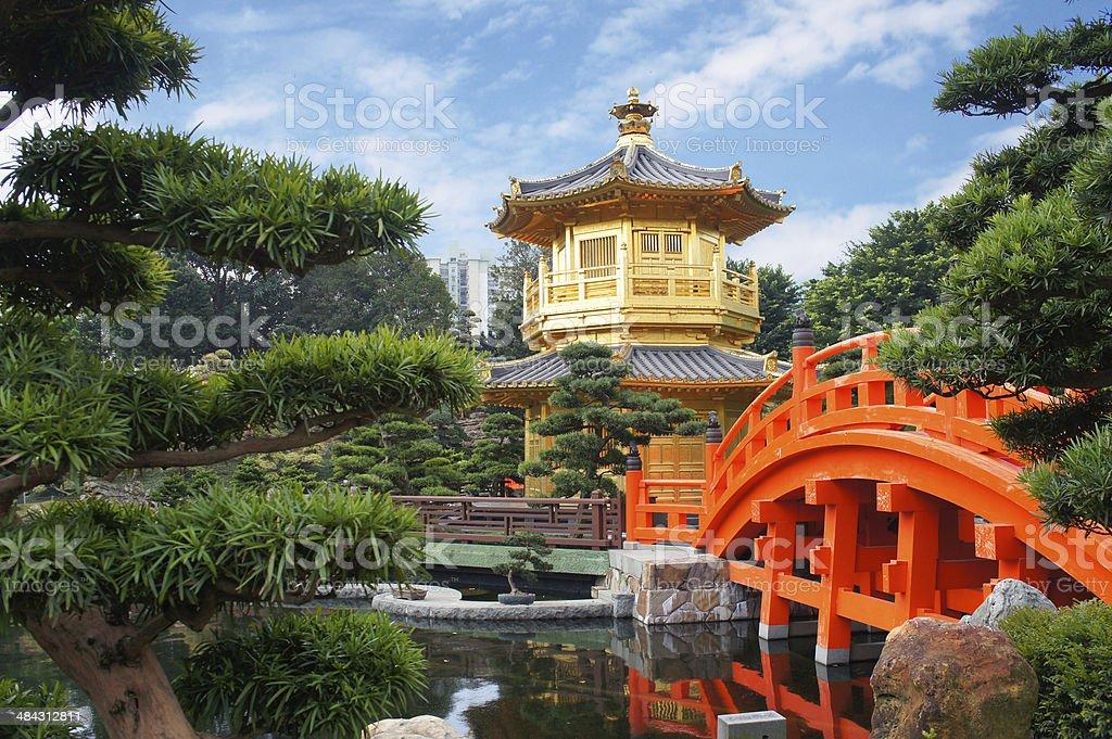 Chinese pavilion at the park of Hong Kong stock photo