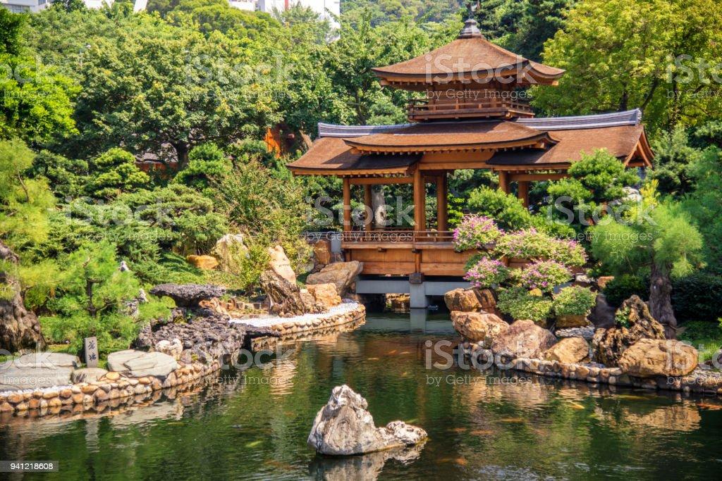 Chinese pavilion in nanlian garden, Hong Kong stock photo