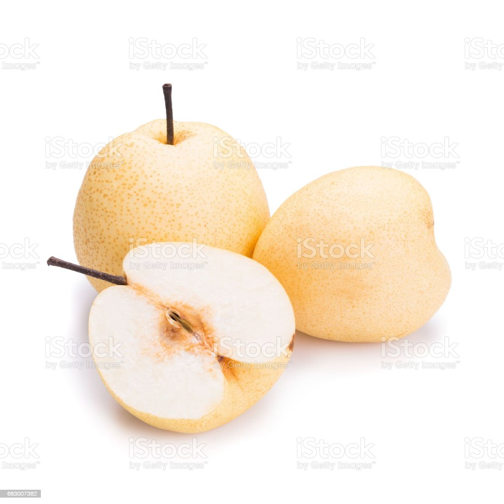 Chinese pear fruits on white background foto de stock royalty-free