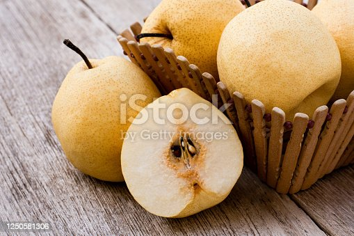 Chinese pear or barrow fruit with half slice in basket isolated on wood table background.