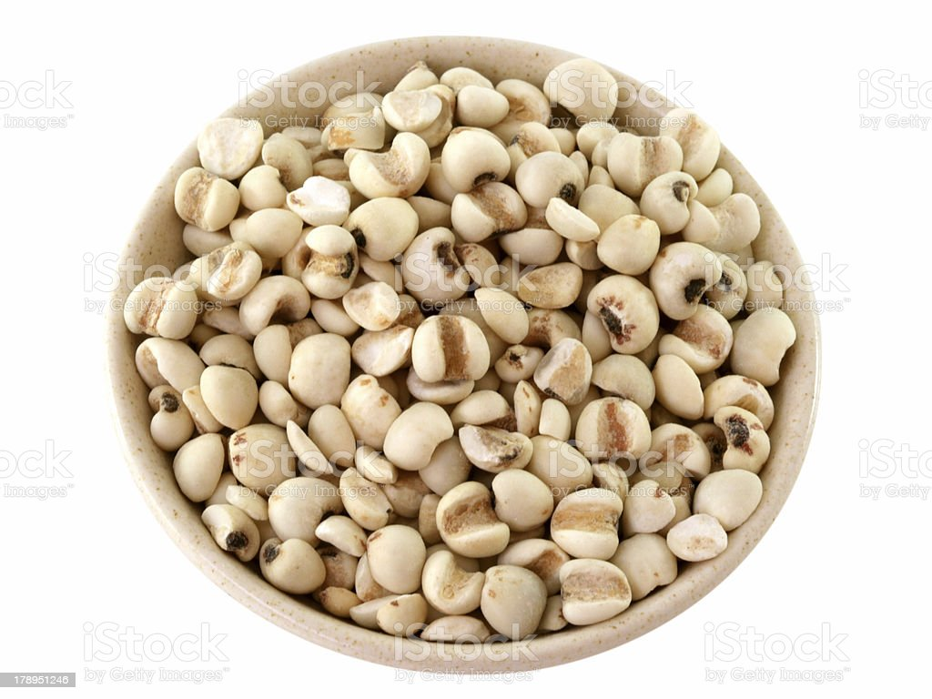 Chinese pearl barley in a bowl isolated on white stock photo