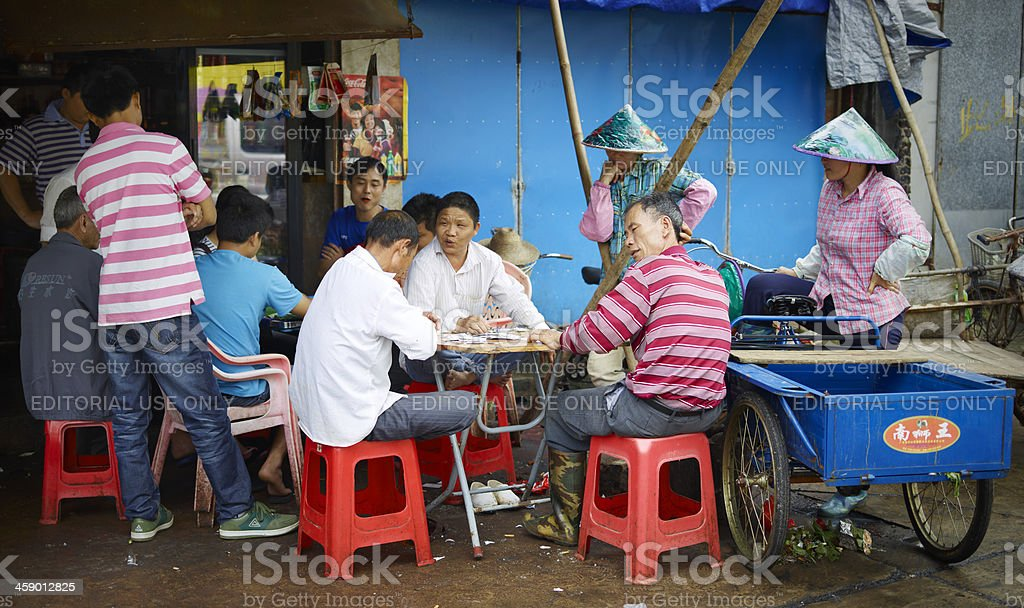 Chinese people having a break royalty-free stock photo
