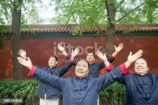 istock Chinese people practicing taiji in park 1083154606