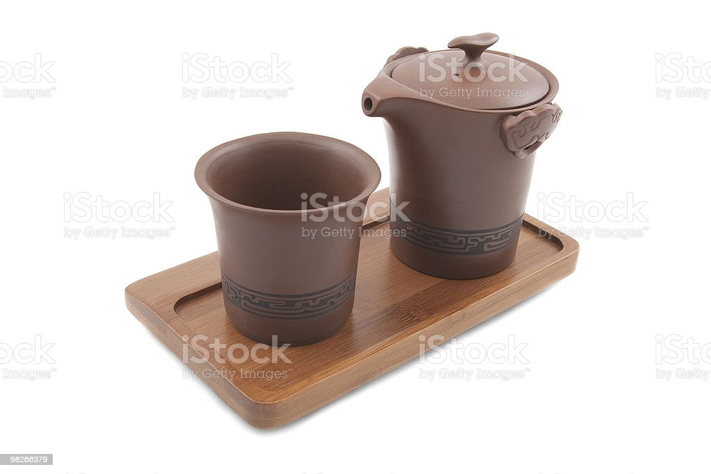 chinese pot and cup on wooden tray royalty-free stock photo