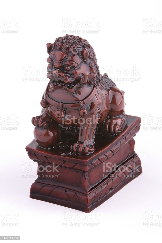 Chinese pottery guardian lion royalty-free stock photo