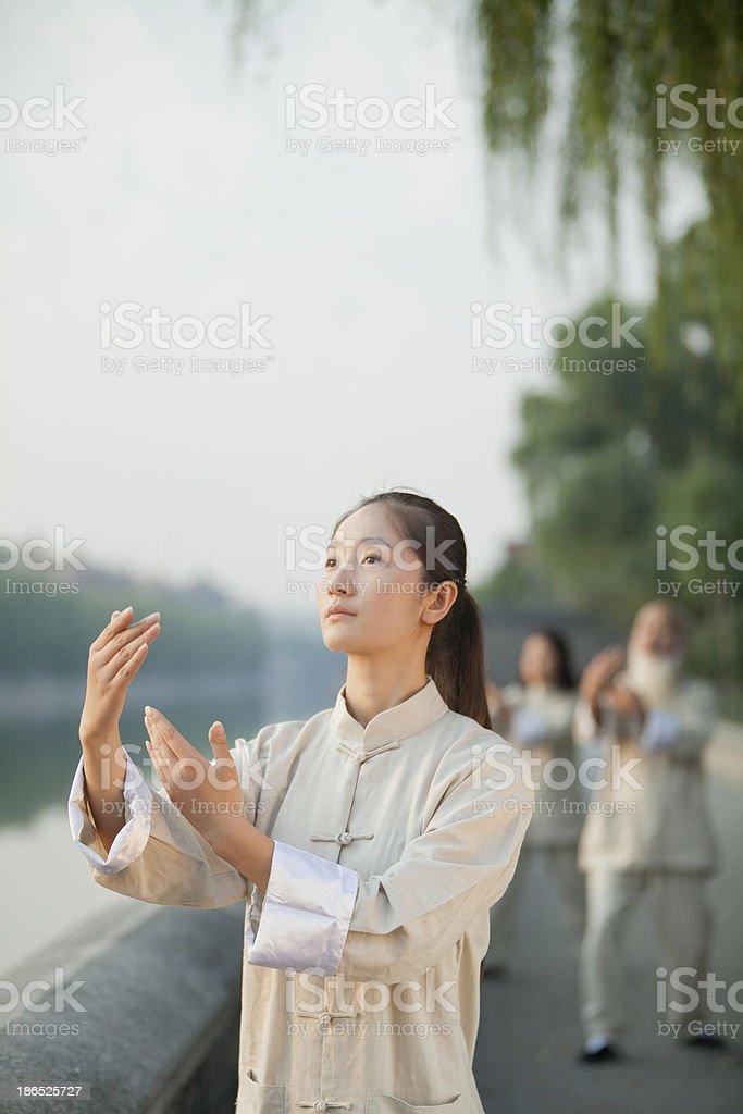 Chinese Practicing Tai Ji royalty-free stock photo