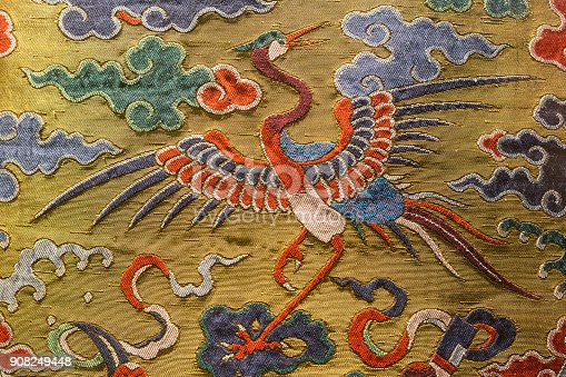 istock Chinese Qing Dynasty official clothes pattern 908249448