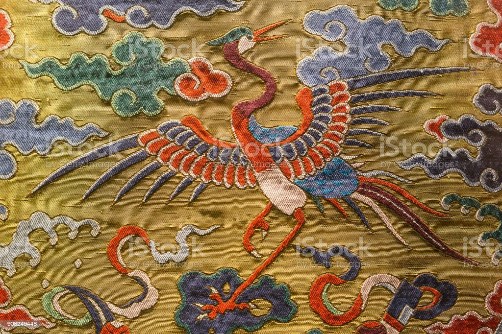 Chinese Qing Dynasty official clothes pattern stock photo