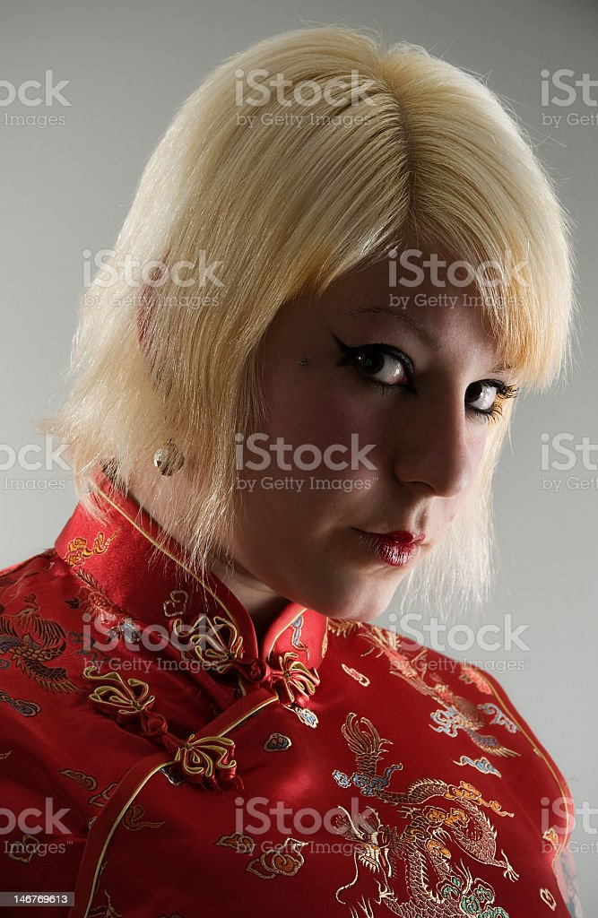 Chinese red dress stock photo