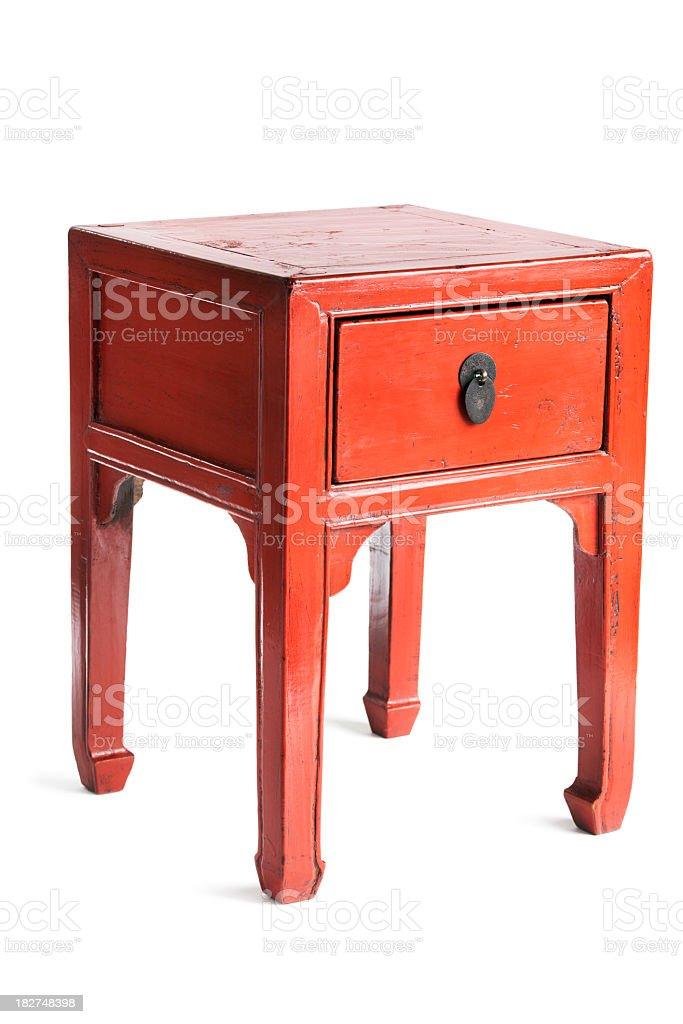 Chinese Red Lacquer Antique Wooden Furniture Side Table with Drawer stock photo
